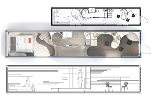 Strates kelly pelletier for Plan amenagement container habitable